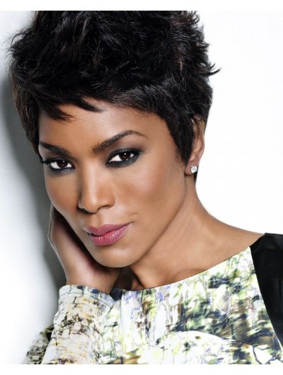 Capless Short Synthetic Hair Straight Black Boycuts Wig