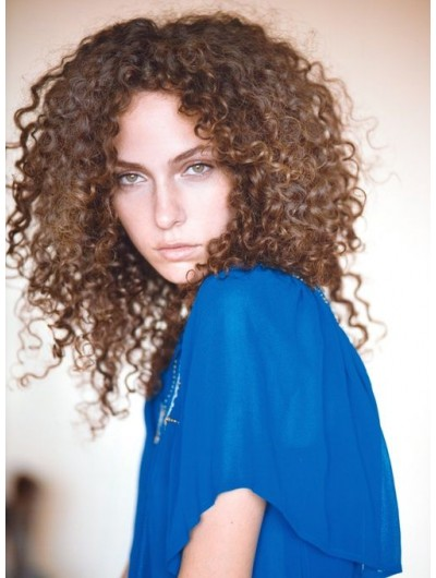 Capless Long Synthetic Hair Curly Brown Wig Without Bangs