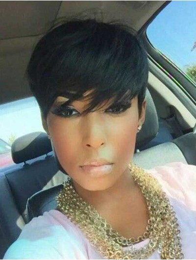 Capless Short Remy Human Hair Straight Black Wig With Bangs
