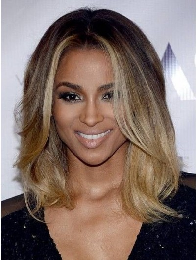 Lace Front Shoulder Length Synthetic Hair Wavy Blonde Wig Without Bangs