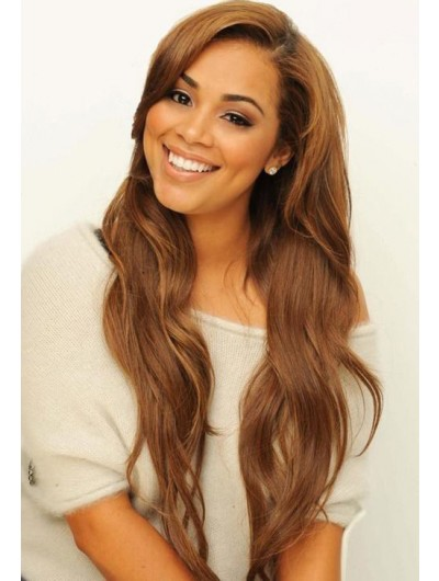 Lace Front Long Synthetic Hair Wavy Brown Classic Wig