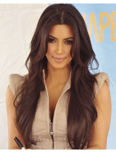 Lace Front Long Remy Human Hair Wavy Brown Classic Wig