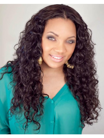 Lace Front Long Synthetic Hair Curly Auburn Wig Without Bangs