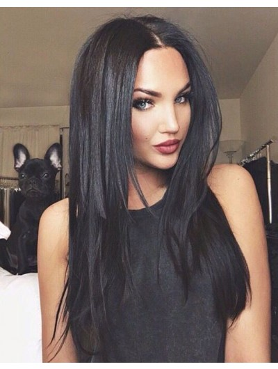 Lace Front Long Remy Human Hair Straight Black Wig Without Bangs