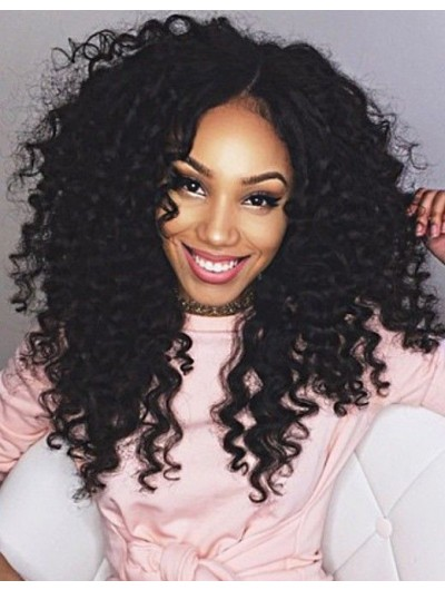 Lace Front Long Synthetic Hair Curly Black Wig Without Bangs