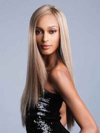 Full Lace Long Synthetic Hair Straight Blonde Wig Without Bangs