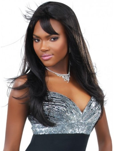 Capless Long Remy Human Hair Straight Black Wig With Bangs
