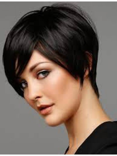Capless Cropped Remy Human Hair Straight Black Wig With Bangs