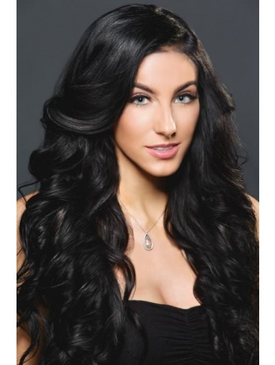 Full Lace Long Synthetic Hair Wavy Black Wig Without Bangs