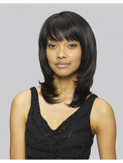 Capless Medium Remy Human Hair Straight Black Layered Wig