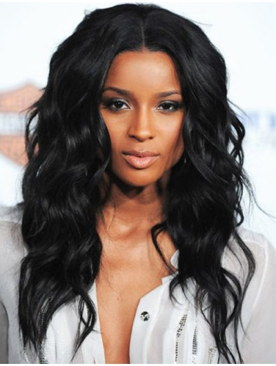 Lace Front Long Synthetic Hair Wavy Black Layered Wig