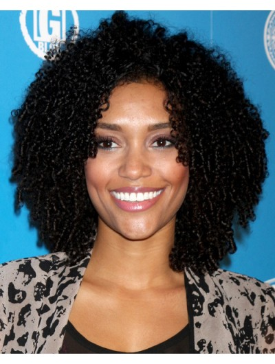 Shoulder Length Natural Black Curly Hairstyle Wig