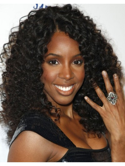 Naomi Campbell Curly Hairstyle Wig With Blunt Bangs