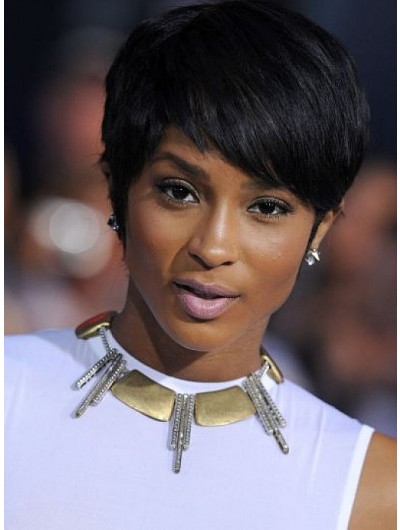 Straight Cropped Hair Wig With Side Bangs