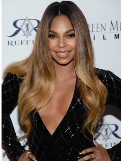 Ashanti Long Hairstyles Lace Front Wavy Cut Wig