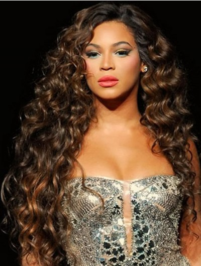 Long Curly Weave Hairstyles Thick Hair Wig With Round Face