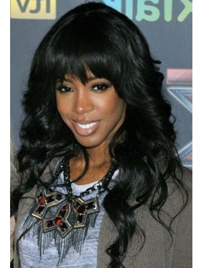 Capless Long Remy Human Hair Wavy Wig With Bangs