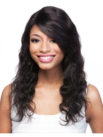 Lace Front Long Remy Human Hair Wavy Wig With Bangs