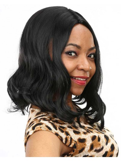 Lace Front Long Remy Human Hair Wig Without Bangs