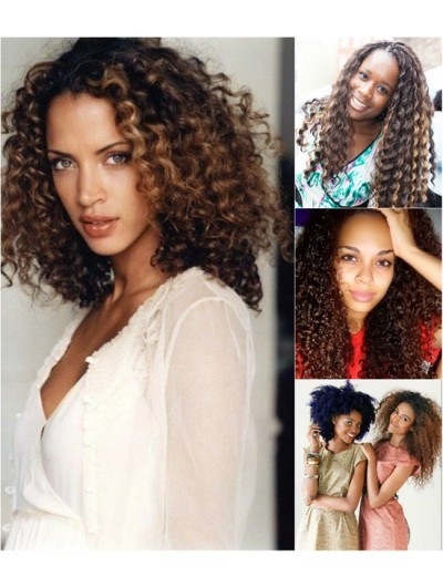 Lace Front Synthetic Hair Curly Wig Without Bangs