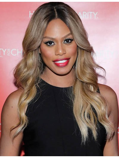 Laverne Cox Long Wavy Cut Wig