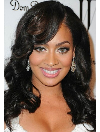 Long Wavy Hairstyles Wig With Swept Bangs