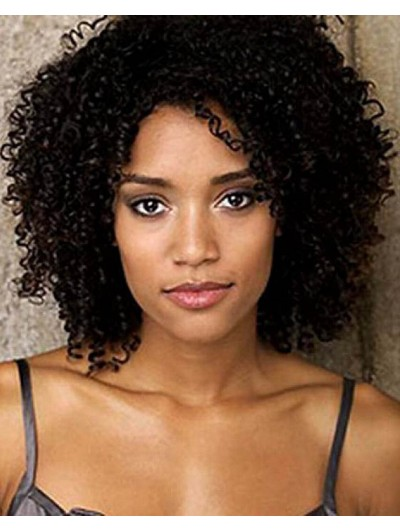 Medium Length Curly Hair Wig For Black Women