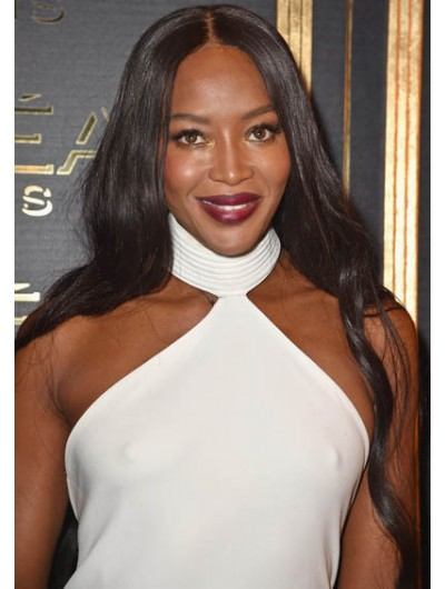 Naomi Campbell Long Hairstyles Center Wig