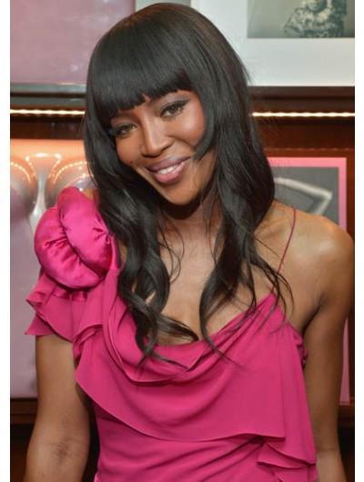 Naomi Campbell Long Hairstyles Wavy Cut Wig