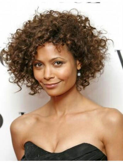 Capless Short Synthetic Hair Curly Brown Bobs Wig