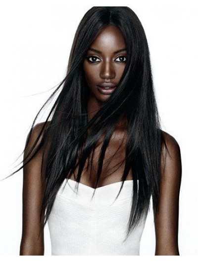 Lace Front Long Synthetic Hair Straight Black Wig Without Bangs