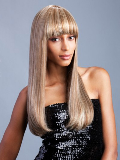 Capless Long Synthetic Hair Straight Blonde Wig With Bangs
