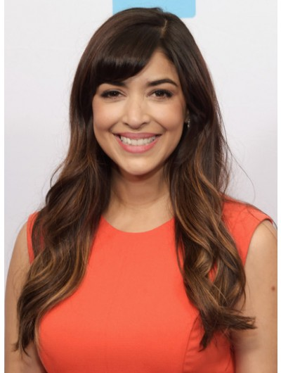 Hannah Simone Long Wavy Cut With Bangs Wig