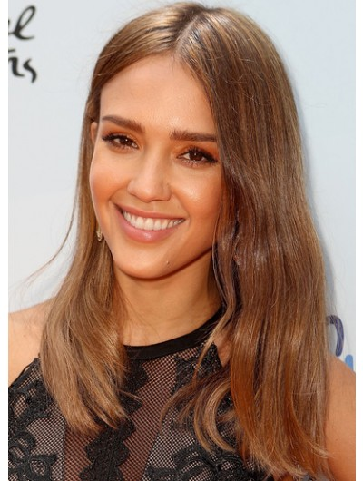 Jessica Alba Long Center Part Wig