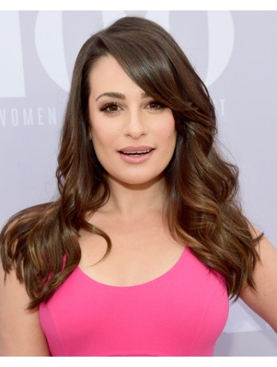 Lea Michele Long Wavy Cut With Bangs Wig