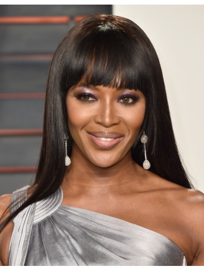 Naomi Campbell Long Straight Cut With Bangs Wig