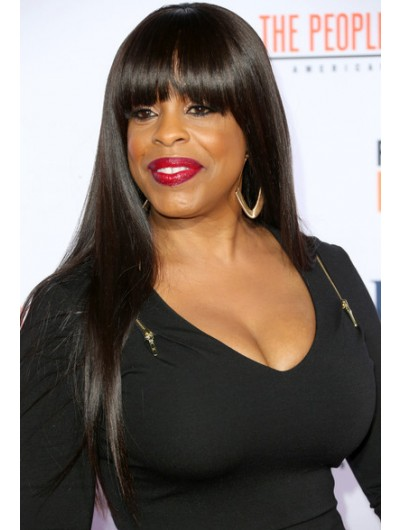 Niecy Nash Long Straight Cut With Bangs Wig