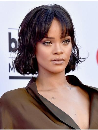 Rihanna Short Wavy Cut Wig