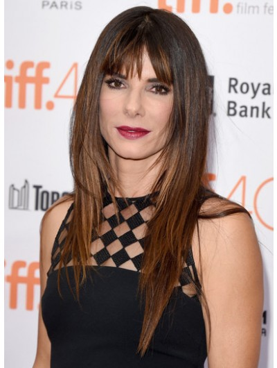 Sandra Bullock Long Straight Cut With Bangs Wig