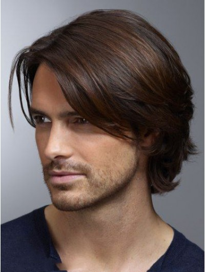 Lace Front Short Remy Human Hair Straight Wig For Men
