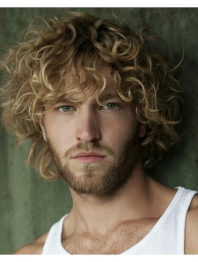 Capless Short Synthetic Hair Curly Wig For Men