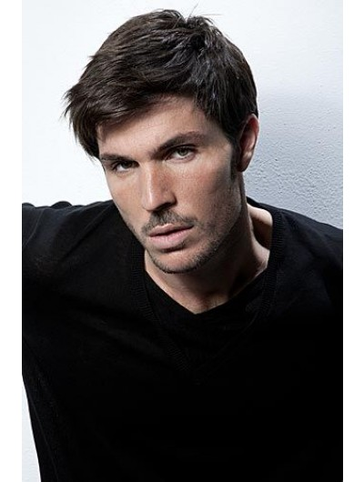 Capless Short Remy Human Hair Straight Wig For Men