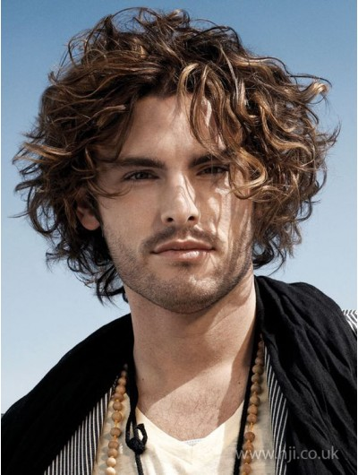 Full Lace Short Synthetic Hair Wavy Wig For Men