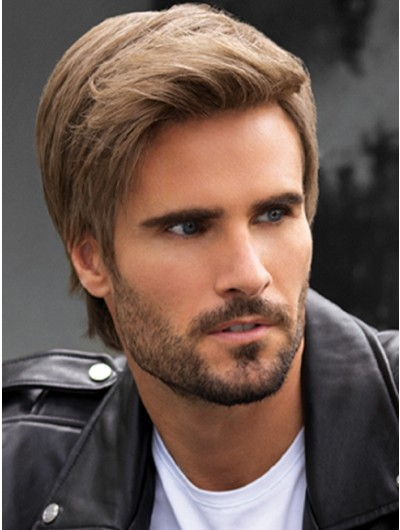 Lace Front Short Synthetic Hair Straight Wig For Man