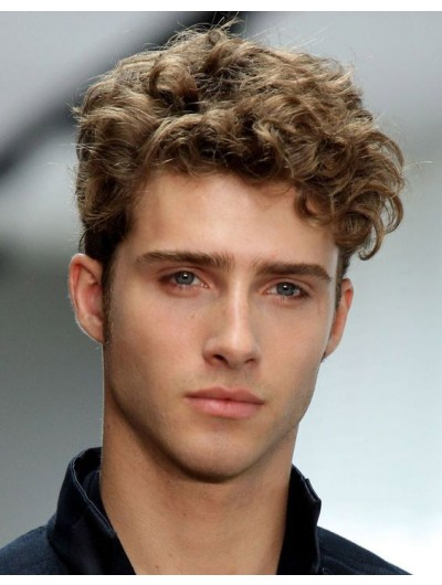 Capless Short Synthetic Hair Curly Wig For Man