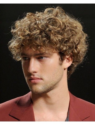 Mens Capless Short Synthetic Hair Curly Wig