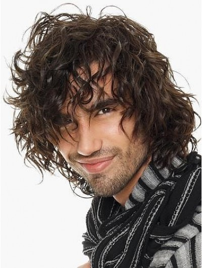 Mens Capless Medium Synthetic Hair Wavy Wig