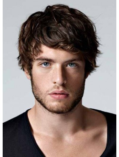 Mens Capless Short Remy Human Hair Wavy Wig