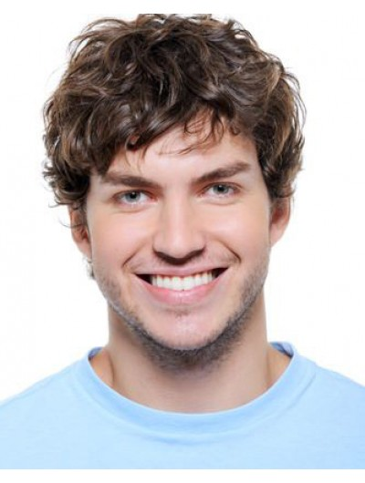 Mens Capless Short Synthetic Hair Wavy Wig