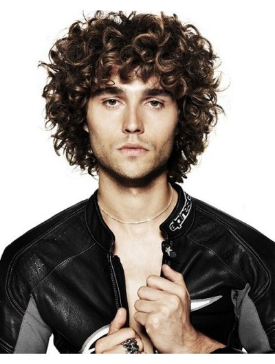 Capless Short Synthetic Hair Curly Mens Wig